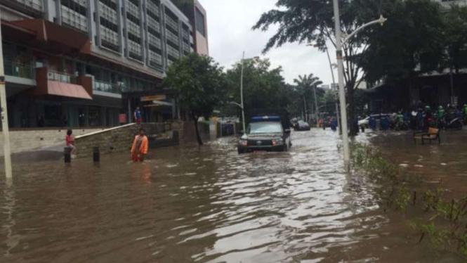 Kawasan Kemang Raya, Jakarta Selatan, banjir, Selasa, 25 Februari 2020. (Foto ilustrasi).