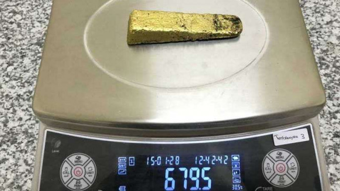 Dore bullion BRMS sebelum diproses menjadi emas murni.