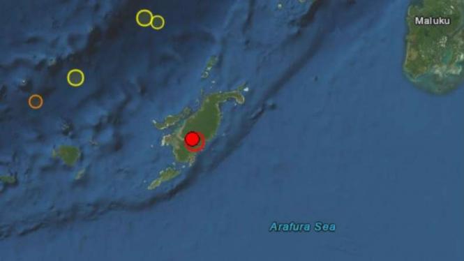 Peta lokasi gempa Tanimbar, Maluku.
