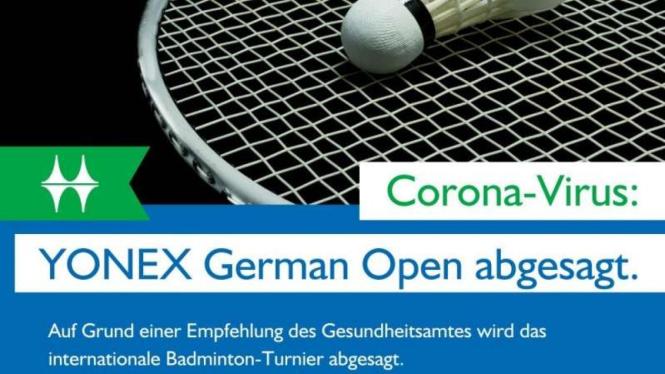 German Open dibatalkan efek Virus Corona COVID-19.