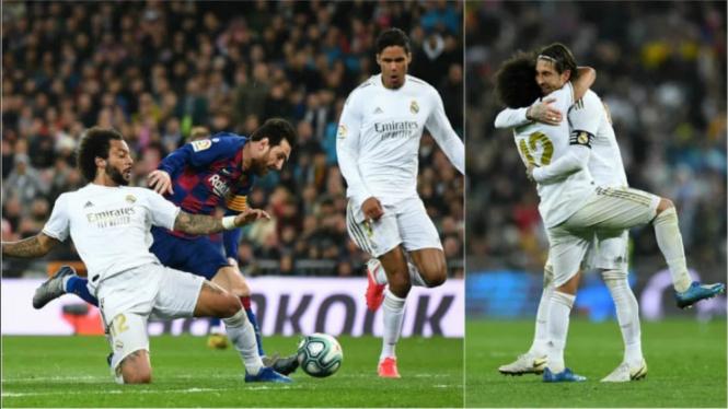 Aksi Marcelo menjegal Lionel Messi di depan gawang Real Madrid