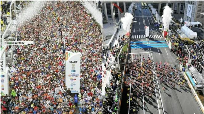 Perbandingan jumlah peserta Tokyo Marathon 2019 (kiri) dan 2020 (kanan)