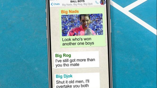 Grup WhatsApp trio bintang tenis dunia