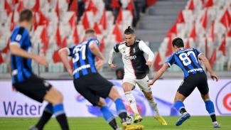 Megabintang Juventus, Cristiano Ronaldo saat melawan Inter Milan