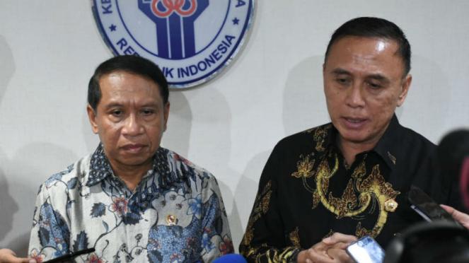 Menpora Zainudin Amali dan Ketua Umum PSSI Mochamad Iriawan