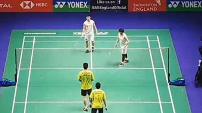 Mohammad Ahsan/Hendra Setiawan di All England Open 2020.