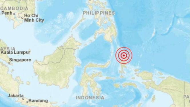 Peta lokasi gempa Maluku Utara.