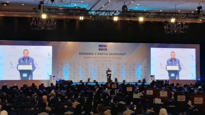 Presiden RI ke-6, SBY bicara soal corona di Kongres V Demokrat.