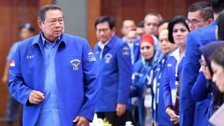SBY hadir saat kongres Partai Demokrat yang menunjuk Agus Harimurti Yudhoyono (AHY) jadi Ketum Demokrat.