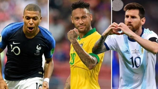 Trio megabintang sepakbola; Kylian Mbappe, Neymar dan Lionel Messi