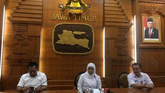 Gubernur Jawa Timur Khofifah Indar Parawansa di Gedung Negara Grahadi, Surabaya