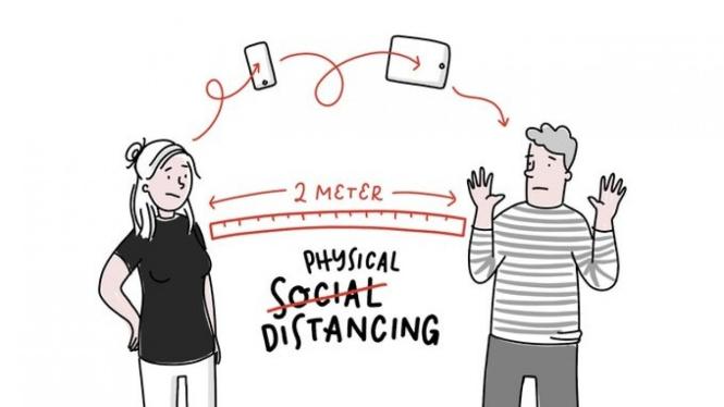 Ilustrasi mengganti bertemu fisik dengan pertemuan virtual