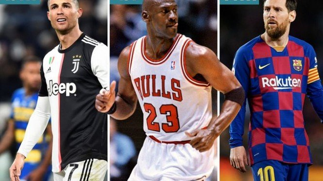 Maestro NBA, Michael Jordan diapit 2 bintang lapangan hijau, Ronaldo dan Messi.