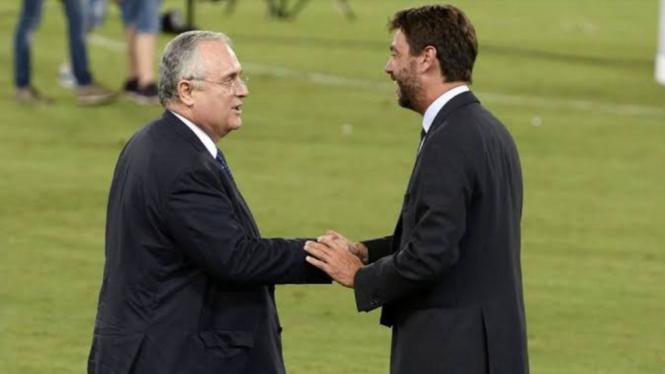 Presiden Lazio, Claudio Lotito, dan Presiden Juventus, Andrea Agnelli.