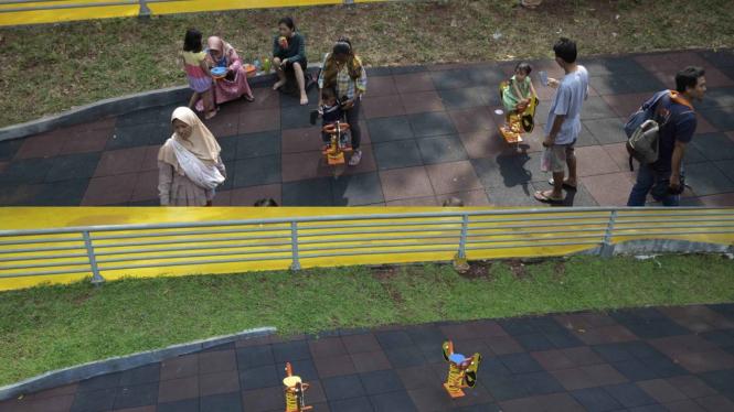 Taman Puring Sepi Akibat Merebaknya Virus Corona