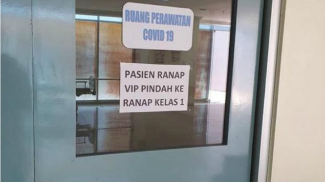 Ruang perawatan pasien Covid-19 di salah satu RS di Makassar.