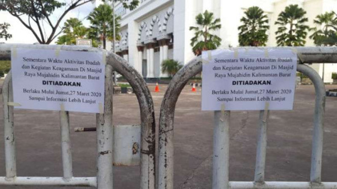 Pengumuman tentang peniadaan sementara aktivitas di Masjid Raya Mujahidin Kalbar