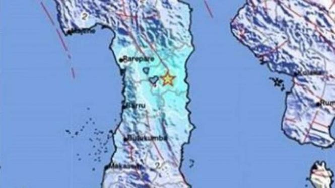 Peta lokasi gempa Wajo