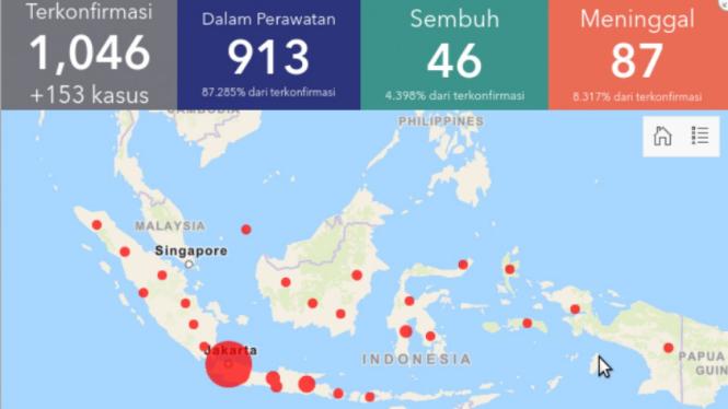 Data COVID-19 di Indonesia per 27 Maret 2020.