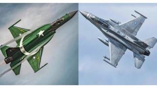 Jet tempur JF-17-Block 3 dan  F-16C Fighting Falcons. Keduanya milik Angkatan Udara Pakistan.