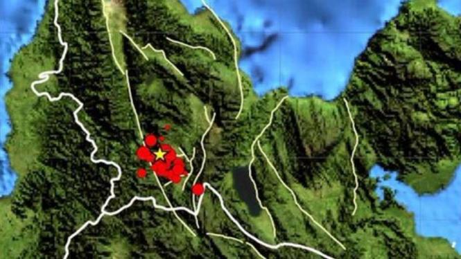 Peta lokasi gempa Sigi.