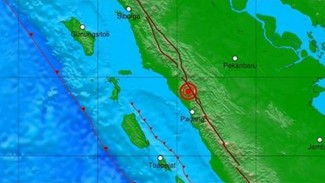 Peta lokasi gempa Bukittinggi, Sumbar.
