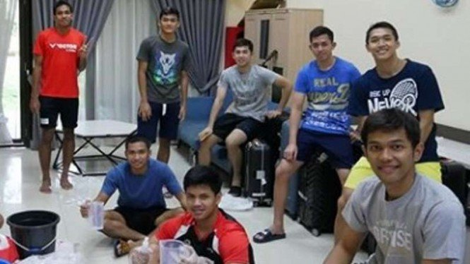 Para pebulutangkis Indonesia di Pelatnas Cipayung.
