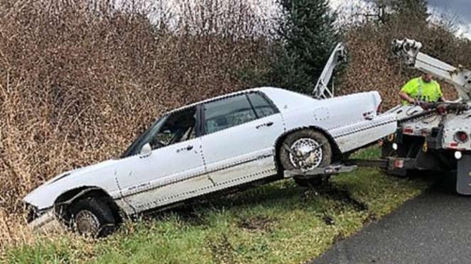 Mobil putih dikemudikan Pit Bull.