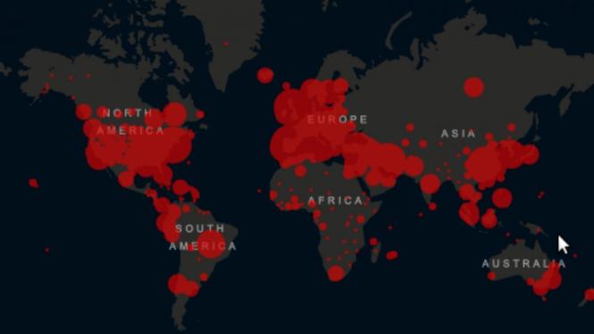 Peta penyebaran virus corona COVID-19 di dunia