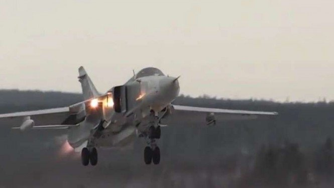 VIVA Militer:  Pesawat Sukhoi Su-24 milik Rusia.
