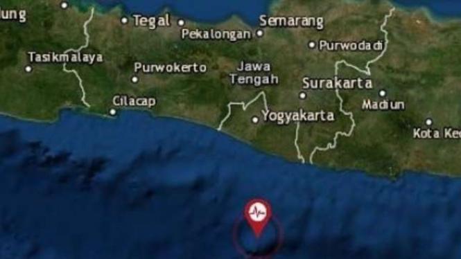 Peta lokasi gempa Gunungkidul, Yogyakarta.