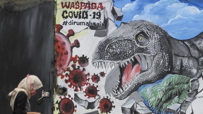 Mural Lawan Virus Corona COVID-19.
