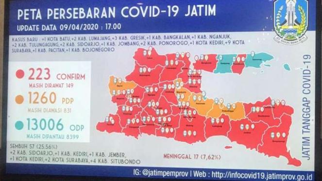 Peta persebaran virus corona atau Covid-19 di Jawa Timur.