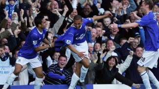 James Vaughan saat mencatat rekor bersama Everton.