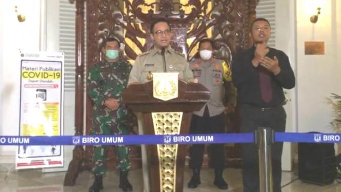Gubernur DKI Jakarta, Anies Baswedan, beri keterangan pers update corona