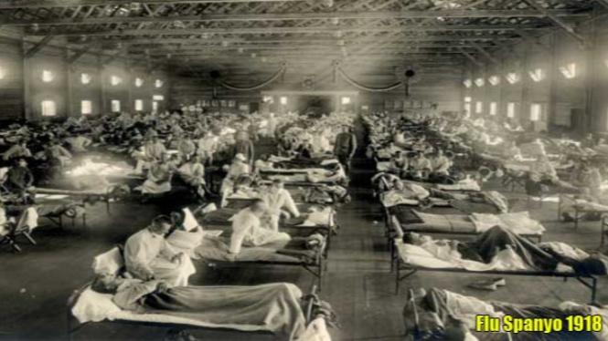Rumah Sakit Darurat selama terjadinya Pandemi Flu Spanyol 1918.
