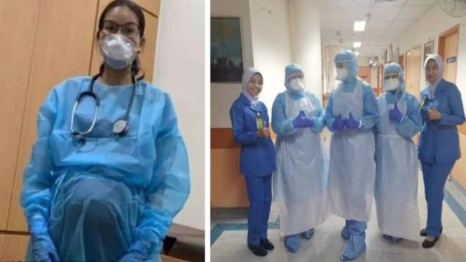 Dokter sedang hamil tetap merawat pasien COVID-19