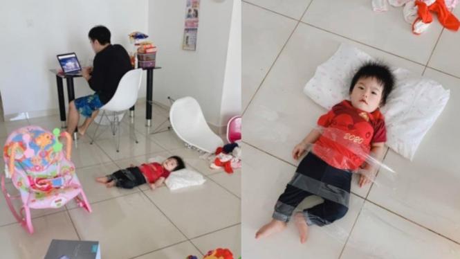 Ayah kesal diganggu anak saat WFH