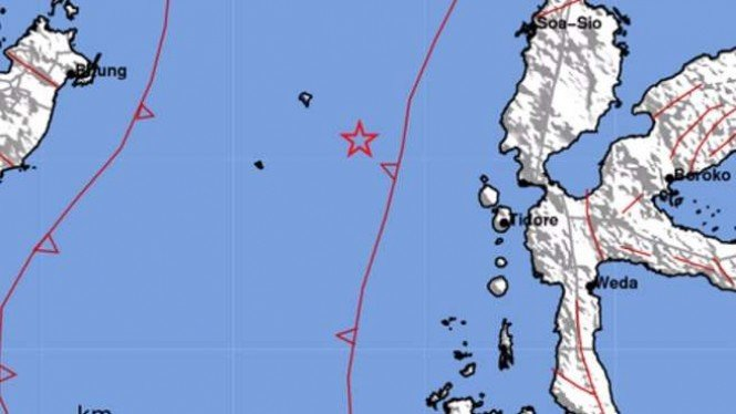 Peta lokasi gempa Ternate