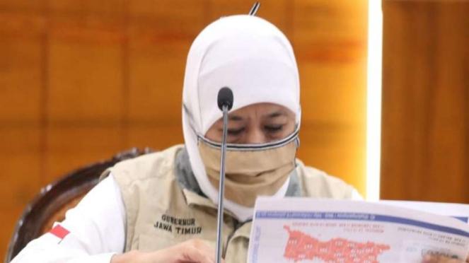 Gubernur Jawa Timur Khofifah Indar Parawansa di Gedung Negara Grahadi Surabaya