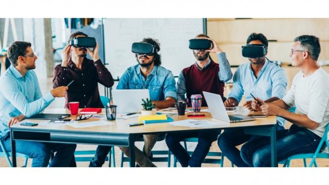 Pemanfaatan teknologi virtual reality untuk pertemuan atau rapat.