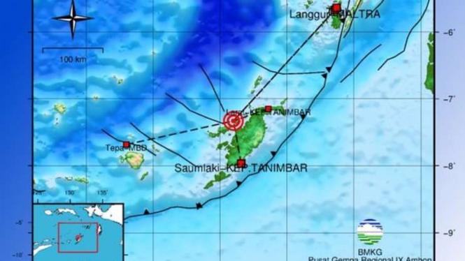 Peta lokasi gempa Saumlaki, Maluku.