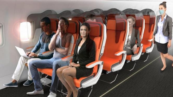Desain baru kursi penumpang pesawat antisipasi penularan virus COVID-19