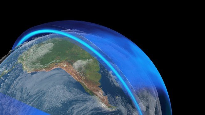 Ilustrasi ozon melindungi Bumi.