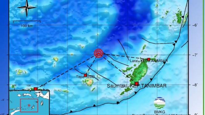Peta lokasi gempa 7,3 SR.