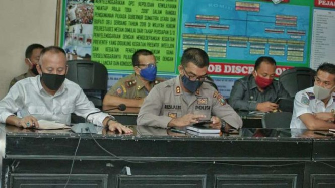 Rapat kordinasi Polrestabes Medan, Pemkot Medan dan Pemkab Deli Serdang.