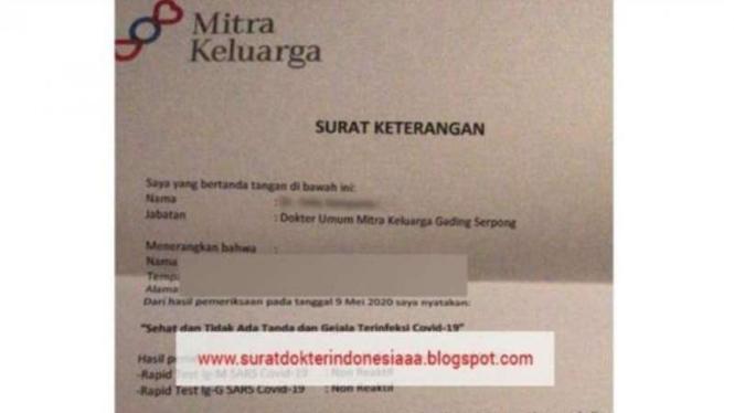 Beredar surat keterangan bebas Corona atas nama RS Mitra Keluarga dijual di e-commerce.
