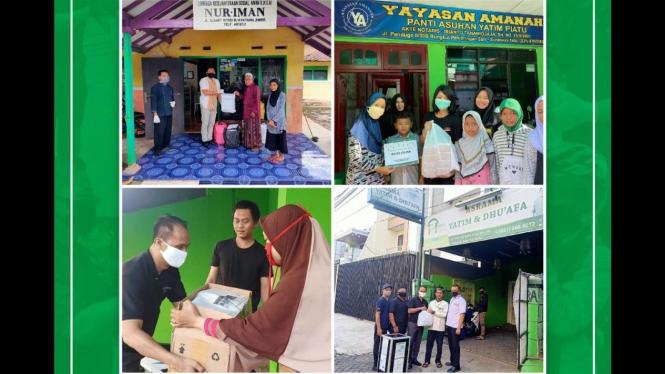 Penyerahan bantuan nasi kotak dari Waringin Hospitality Hotel Group ke masyarakat