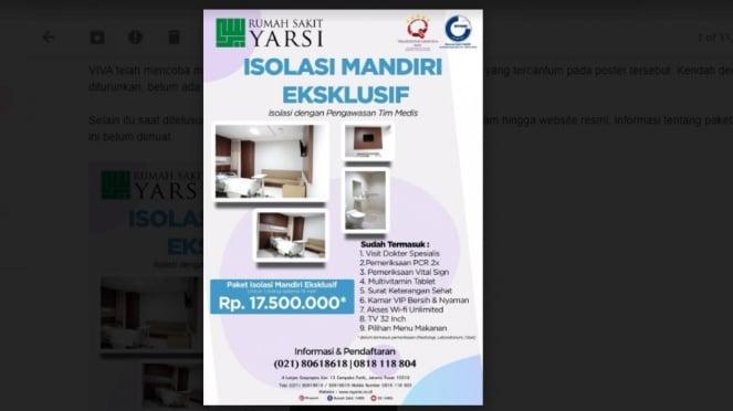 Paket Isolasi Mandiri RS Yarsi Rp17,5 juta selama 14 hari