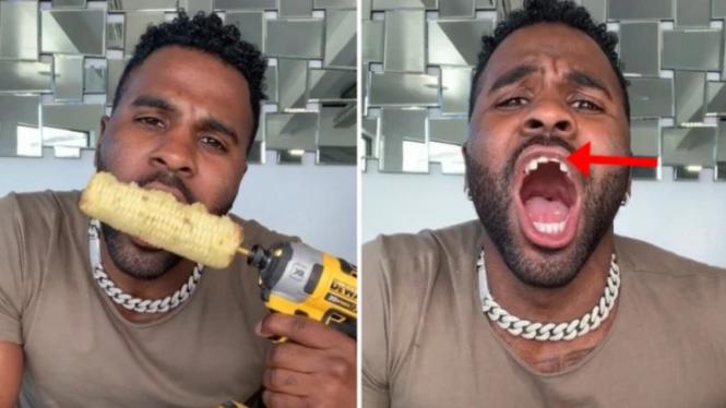 Video TikTok kocak makan jagung dengan bor bikin gigi patah